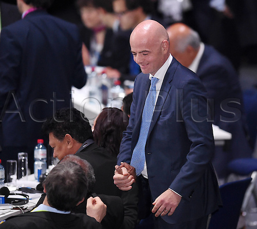 26.02.2016. Zurich, Switzerland. UEFA Secretary-General Gianni Infantino Switzerland shakes Hands After the first Ballot where he received 88 Votes