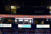 Crawl sign that has since been changed inside the Quicken Loans Arena at the 2016 Republican National Convention in Cleveland, Ohio on Tuesday, July 19, 2016.<br />