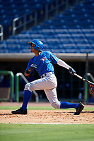 Toronto Blue Jays Emmanuel Sanchez (59) follows through on a swing during a Florida Instructional League game against the Philadelphia Phillies on September 24, 2018 at Spectrum Field in Clearwater, Florida.  (Mike Janes/Four Seam Images)