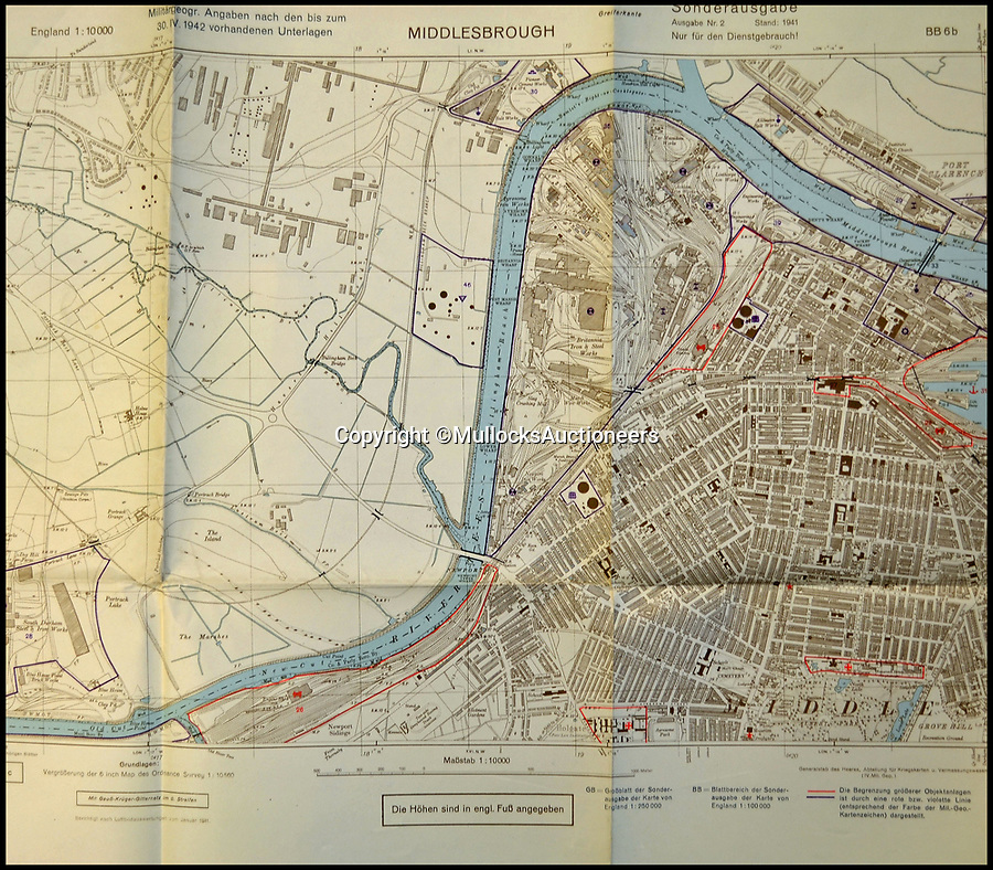 BNPS.co.uk (01202 558833)Pic: MullocksAuctioneers/BNPS<br /> <br /> A map of Middlesborough with specific red highlighted targets including a Middlesborough railway station.<br /> <br /> A fascinating collection of maps from Operation Sea Lion have been unearthed which reveal the Nazis had north east England firmly in their sights.<br /> <br /> A map of Middlesborough dated April 30, 1942, has specific targets highlighted in red including the railway station, bridges and industrial depots.<br /> <br /> The Nazis did strike it lucky with one of their targets a few months later when a lone Dornier Do 217 dropped a stick of bombs onto the railway station on August 2, causing serious damage to the Victorian glass and steel roof.<br /> <br /> Middlesbrough, on the Teeside, was the first major British town to be bombed during the Second World War mainly because of its iron and steel industries.