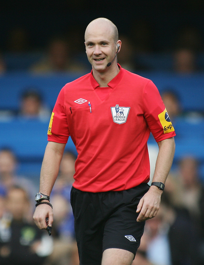 Referee Anthony Taylor smiles..Football - Barclays Premiership - Chelsea v Norwich City - Saturday 6th October 2012 - Stamford Bridge - London..