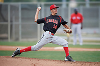 Starting pitcher William Sierra (14) of the Canada Junior National Team delivers a pitch during an exhibition game against a Boston Red Sox minor league team on March 31, 2017 at JetBlue Park in Fort Myers, Florida.  (Mike Janes/Four Seam Images)