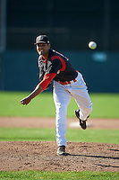 Batavia Muckdogs pitcher Nestor Bautista (39) delivers a warmup pitch during the first game of a doubleheader against the Mahoning Valley Scrappers on July 2, 2015 at Dwyer Stadium in Batavia, New York.  Batavia defeated Mahoning Valley 4-1.  (Mike Janes/Four Seam Images)