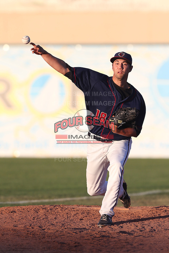 Zach Morton #18 of the Lancaster JetHawks warms up in the bullpen during a game against the Stockton Ports at The Hanger on June 24, 2014 in Lancaster, California. Stockton defeated Lancaster, 6-4. (Larry Goren/Four Seam Images)