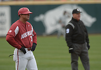 NWA Democrat-Gazette/ANDY SHUPE<br />Arkansas assistant coach Nate Thompson watches from the third base coaches box against South Carolina Saturday, April 14, 2018, during the second inning at Baum Stadium. Visit nwadg.com/photos to see more photographs from the game.