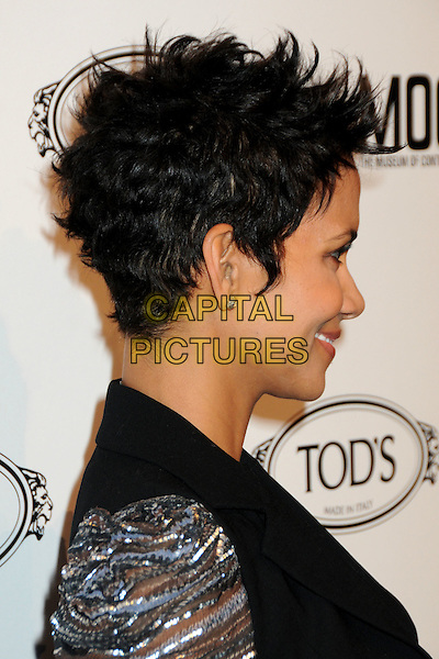 HALLE BERRY  .TOD's Beverly Hills Boutique Launch Celebration held at TOD's Boutique, Beverly Hills, California, USA, .15th April 2010..portrait headshot profile side earring silver grey gray black  necklace sheer striped .CAP/ADM/BP.©Byron Purvis/AdMedia/Capital Pictures.