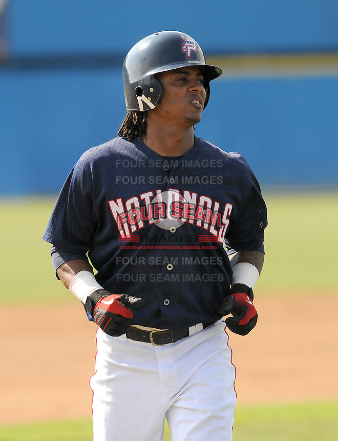 July 16, 2009: Infielder Michael Martinez (4) of the Potomac Nationals, Carolina League affiliate of the Washington Nationals, before a game at G. Richard Pfitzner Stadium in Woodbridge, Va. Photo by:  Tom Priddy/Four Seam Images