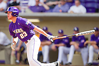 JaCoby Jones #23 of the LSU Tigers follows through on his swing against the Wake Forest Demon Deacons at Alex Box Stadium on February 20, 2011 in Baton Rouge, Louisiana.  The Tigers defeated the Demon Deacons 9-1.  Photo by Brian Westerholt / Four Seam Images