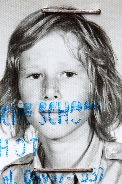 detail of identity photo of a young boy 1970s