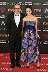 Spanish actor Fernando Guillen Cuervo and actress Veronica Sanchez attend 30th Goya Awards red carpet in Madrid, Spain. February 06, 2016. (ALTERPHOTOS/Victor Blanco)