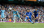 Riyad Mahrez of Leicester City slips as he takes a penalty during the English Premier League match at the Etihad Stadium, Manchester. Picture date: May 13th 2017. Pic credit should read: Simon Bellis/Sportimage