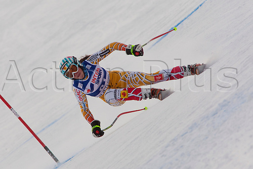 15.12.2010 VAL D'ISERE FRANCE.  Michele Marie Ganon (CAN) speeds down the course, whilst competing in the first official training run for the FIS Alpine skiing World Cup race in Val D'Isere France.