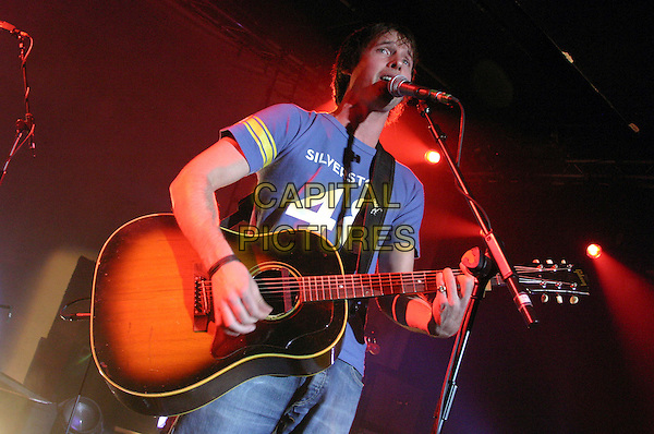 JAMES BLUNT.Performs at Rock City, Nottingham..October 4th, 2005.concert gig performance live stage half length guitar singing.www.capitalpictures.com.sales@capitalpictures.com.©Capital Pictures