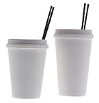 small and large styrofoam coffee cups with lids and stirrers on shadowless white background