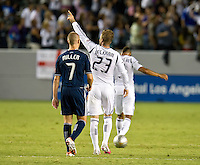 CARSON, CA - September 1, 2012:  LA Galaxy midfielder David Beckham (23) celebrating his goal during the LA Galaxy vs the Vancouver Whitecaps FC at the Home Depot Center in Carson, California. Final score LA Galaxy 1, Vancouver Whitecaps FC 0.