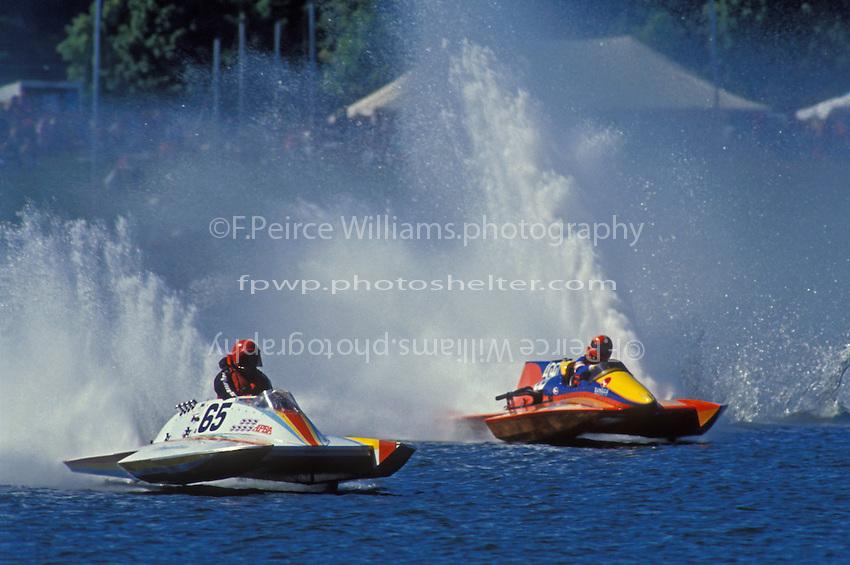 Bill Morrison, A-65 and Steve Linn, A-63 (2.5 MOD class hydroplane(s) Rocky Fork State Park, Hillsboro, Ohio 1991