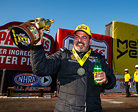 Feb 25, 2018; Chandler, AZ, USA; NHRA pro stock driver Chris McGaha celebrates after winning the Arizona Nationals at Wild Horse Pass Motorsports Park. Mandatory Credit: Mark J. Rebilas-USA TODAY Sports
