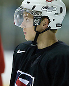 Aaron Ness (US White - 2) - US players take part in practice on Friday morning, August 8, 2008, in the NHL Rink during the 2008 US National Junior Evaluation Camp and Summer Hockey Challenge in Lake Placid, New York.