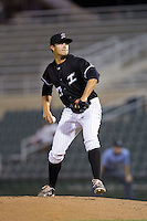 Kannapolis Intimidators relief pitcher Tanner Mendonca (27) in action against the Greenville Drive at Intimidators Stadium on June 7, 2016 in Kannapolis, North Carolina.  The Drive defeated the Intimidators 5-2 in game two of a double header.  (Brian Westerholt/Four Seam Images)