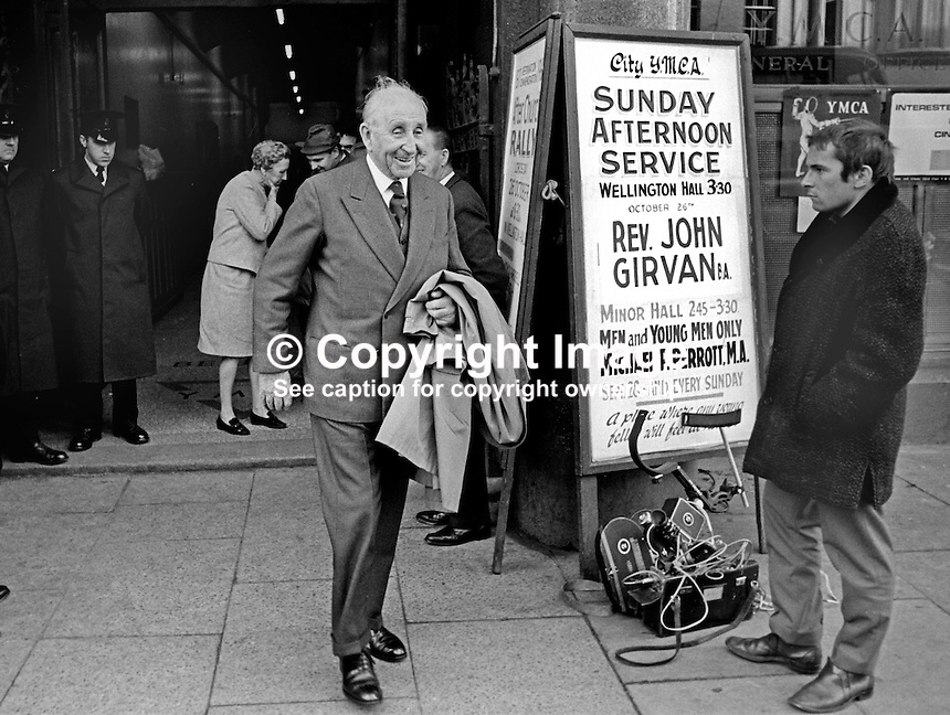 Lord Brookeborough, First Viscount, former and longest-serving Prime Minister of N Ireland leaving a meeting of the Ulster Unionist Party held in the YMCA's Wellington Hall, Belfast, February, 1970. 19700200076a<br />
