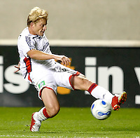 New England Revolution midfielder Joe Franchino (8) crosses the ball.  The Chicago Fire defeated the New England Revolution 2-1 in the quarterfinals of the U.S. Open Cup at Toyota Park in Bridgeview, IL on August 23, 2006...