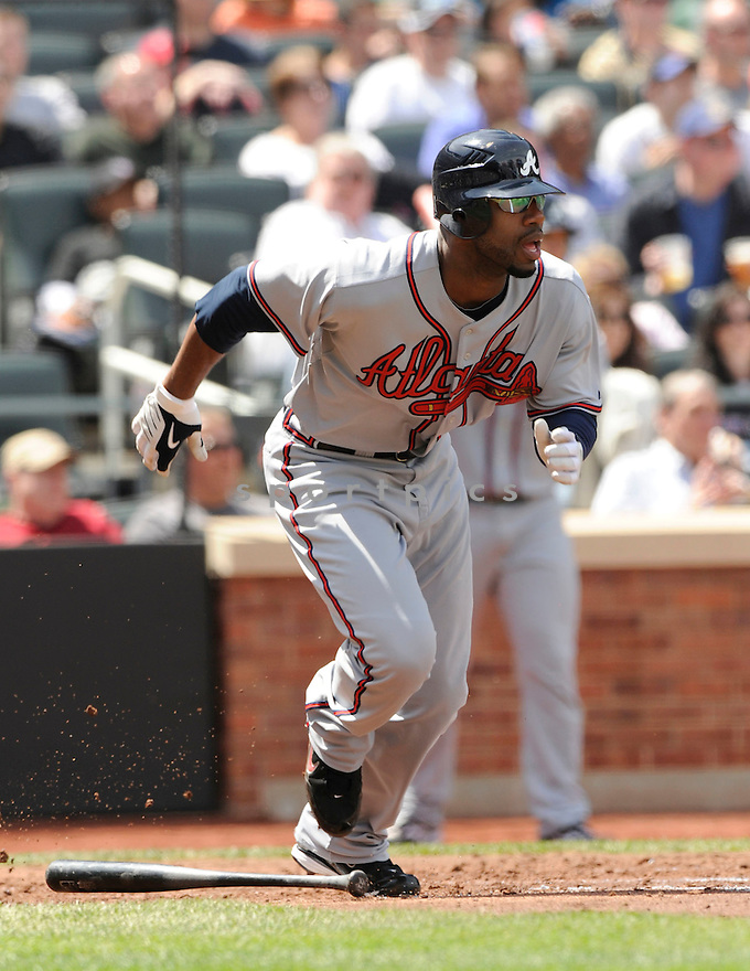 JASON HEYWARD, of the Atlanta Braves, in action during the  Braves game against the New York Mets at CitiField in New York, NY on April 24, 2010...The Mets win 3-1