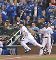 Norichika Aoki (Royals),<br /> OCTOBER 29, 2014 - MLB :<br /> Norichika Aoki of the Kansas City Royals bats during Game 7 of the 2014 Major League Baseball World Series against the San Francisco Giants at Kauffman Stadium in Kansas City, Missouri, United States. (Photo by AFLO)