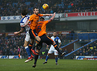 Oldham Athletic's Cameron Dummigan (centre) and Anthony Gerrard battle with Blackburn Rovers' Danny Graham<br /> <br /> Photographer Stephen White/CameraSport<br /> <br /> The EFL Sky Bet League One - Blackburn Rovers v Oldham Athletic - Saturday 10th February 2018 - Ewood Park - Blackburn<br /> <br /> World Copyright &copy; 2018 CameraSport. All rights reserved. 43 Linden Ave. Countesthorpe. Leicester. England. LE8 5PG - Tel: +44 (0) 116 277 4147 - admin@camerasport.com - www.camerasport.com