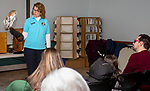 NAUGATUCK, CT - 30 DECEMBER 2019 - 123019JW02.jpg --  Horizon Wings volunteer Deb Csere talks about the life of Tyton the Barn Owl Monday afternoon during a program provided by the Howard Whittemore Memorial Library. Jonathan Wilcox Republican-American