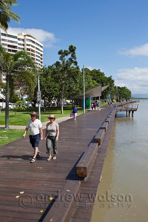 View along the Esplanade boardwalk.  Cairns, Queensland, Australia