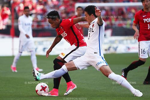 (L to R)  Rafael Silva (Reds), Gen Shoji (Antlers),<br /> MAY 4, 2017 - Football / Soccer : 2017 J1 League match between Urawa Red Diamonds 0-1 Kashima Antlers at Saitama Stadium 2002 in Saitama, Japan. (Photo by Jun Tsukida/AFLO SPORT)