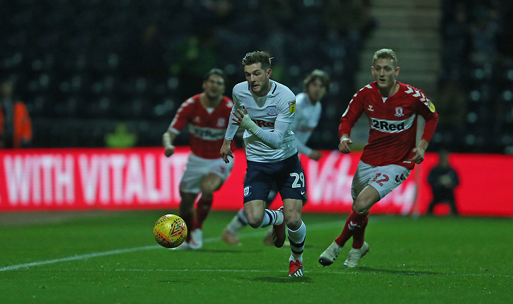 Preston North End's Tom Barkhuizen<br /> <br /> Photographer Stephen White/CameraSport<br /> <br /> The EFL Sky Bet Championship - Preston North End v Middlesbrough - Tuesday 27th November 2018 - Deepdale Stadium - Preston<br /> <br /> World Copyright © 2018 CameraSport. All rights reserved. 43 Linden Ave. Countesthorpe. Leicester. England. LE8 5PG - Tel: +44 (0) 116 277 4147 - admin@camerasport.com - www.camerasport.com