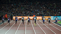The Men's 100m Final which Usain BOLT (4th left) of Jamaica (Men's 100m) wins in 9.87 during the Sainsburys Anniversary Games at the Olympic Park, London, England on 24 July 2015. Photo by Andy Rowland.