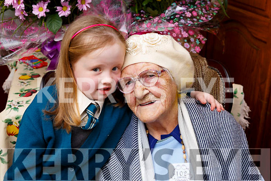 102 year old Catherine Stack from Milltown seated with her great granddaughter Zoe who is 7 and both celebrated their birthday on March 1st.