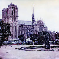 The Notre Dame Cathedral was one of the first Gothic cathedrals, and its construction spanned the Gothic period. Its sculptures and stained glass show the heavy influence of naturalism, unlike that of earlier Romanesque architecture.<br /> <br /> -Limited Edition of 50 Prints