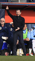 Luton Town manager Nathan Jones barks out his orders during the Sky Bet League 2 match between Luton Town and Crawley Town at Kenilworth Road, Luton, England on 12 March 2016. Photo by Liam Smith.