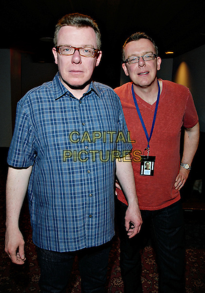 "THE PROCLAIMERS, CRAID REID & CHARLIE REID.Backstage at ""Life With You"" The Proclaimers Seventh Album Tour held at The Hamilton Convention Centre, Hamilton, Ontario, Canada,.19 April 2008..half length glasses band music brothers red t-shirt blue shirt.CAP/ADM/BPC.©Brent Perniac/Admedia/Capital Pictures"