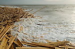 WORTHING BEACH CARGO OF TIMBER  WASHES UP ENGLAND