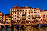 Equestrian statue in honor of Victor Emmanuel II, the king who united Italy; Riva degli Schiavoni (waterfront promenade), Venice, Italy.