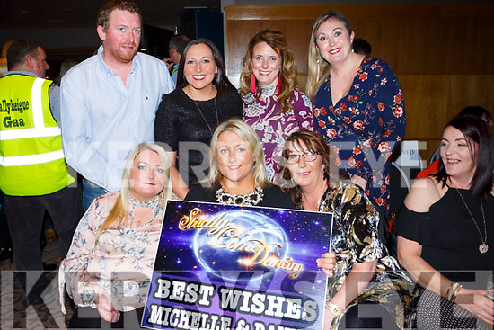 Rachel Byrne, eimear Harty, Catherine Casey, Back l-r Mark Manning, Carol Manning, Orla McCarthy, Majella Philpott at the Ballyheigue GAA 'Strictly Come Dancing' in the Ballyroe Heights Hotel on Saturday night