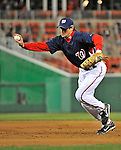 29 March 2008: Washington Nationals' infielder Aaron Boone makes a play to first during an exhibition game against the Baltimore Orioles at Nationals Park, in Washington, DC. The matchup was the first professional baseball game played in the new Nationals Park, prior to the upcoming official opening day inaugural game. The Nationals defeated the Orioles 3-0...Mandatory Photo Credit: Ed Wolfstein Photo