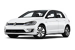 Stock pictures of low aggressive front three quarter view of a 2019 Volkswagen e-Golf Base 5 Door Hatchback