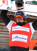 09.03.2013. Arosa, Switzerland.  FIS World Cup Boarders Cross Snowboard Cross SBX men Award Ceremony Picture shows the cheering from Alex Pullin Aus