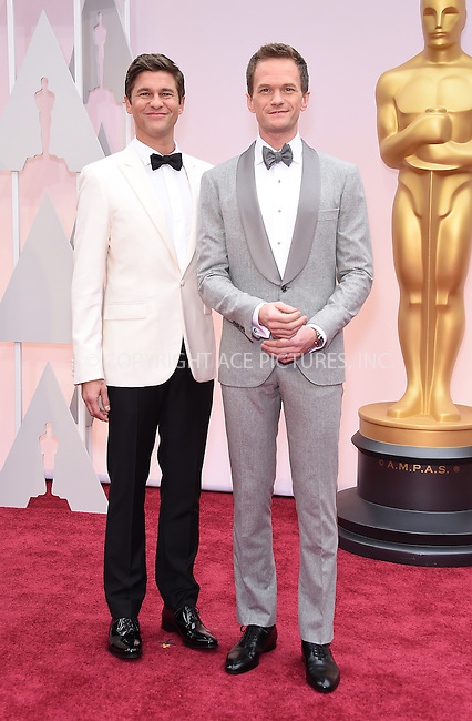 WWW.ACEPIXS.COM<br /> <br /> February 22 2015, LA<br /> <br /> Neil Patrick Harris (R) and David Burtka arriving at the 87th Annual Academy Awards at the Hollywood &amp; Highland Center on February 22, 2015 in Hollywood, California.<br /> <br /> By Line: Z15/ACE Pictures<br /> <br /> <br /> ACE Pictures, Inc.<br /> tel: 646 769 0430<br /> Email: info@acepixs.com<br /> www.acepixs.com