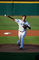 Lakeland Flying Tigers starting pitcher Alex Faedo (13) delivers a pitch during a game against the Tampa Tarpons on April 6, 2018 at Publix Field at Joker Marchant Stadium in Lakeland, Florida.  Lakeland defeated Tampa 6-5.  (Mike Janes/Four Seam Images)