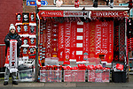 A scarf seller waits for customers before the Premier League match at Anfield, Liverpool. Picture date: 7th March 2020. Picture credit should read: Darren Staples/Sportimage