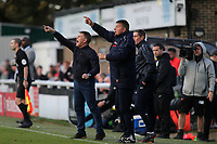 Dover Athletic Manager, Andy Hessenthaler and his Assistant, Darren Hare, issue instructions from the touchline during Dover Athletic vs Southend United, Emirates FA Cup Football at the Crabble Athletic Ground on 10th November 2019
