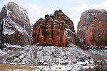 Mountain Peaks And Winter Snow In Zion Valley, Zion National Park, Utah, USA
