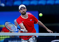 7th January 2020; RAC Arena, Perth, Western Australia; ATP Cup Australia, Perth, Day 5; Russia versus Norway; Konstantin Kravchuk of Russia plays a volley at the net during the doubles against Norway - Editorial Use