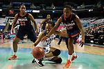 03 March 2016: Duke's Azura Stevens (11) and Virginia's Faith Randolph (20) reach for a loose ball. The Duke University Blue Devils played the University of Virginia Cavaliers at the Greensboro Coliseum in Greensboro, North Carolina in the Atlantic Coast Conference Women's Basketball tournament and a 2015-16 NCAA Division I Women's Basketball game. Duke won the game 57-53.